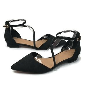 Asos Black Pointy Toe Ankle Strap Flat Shoes